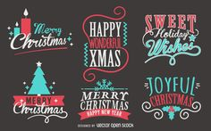 Set of Christmas labels and emblems. Designs feature Christmas wishes and use lettering and calligraphy. They say Merry Christmas, Joyful Christmas, and more.