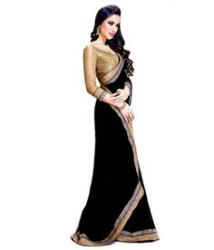 New fancy Black Color saree Designer uf121_1