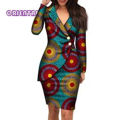 african dress styles 2019 Autumn African Dresses For Women Fashion Office Style V Neck Long Sleeve Midi Dress Bazin Riche African Print Clothing From Oc Short African Dresses, Latest African Fashion Dresses, African Print Dresses, African Dress Designs, African Dress Styles, Ankara Fashion, African Women Fashion, Short Dresses, African American Fashion
