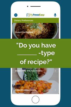We have _______ kind of recipes in the MyFreezEasy apps! Tap on through, check the different dietary preference options out, and then.become a MyFreezEasy member today! Gluten Free Recipes, Healthy Recipes, Paleo, Keto, Whole 30 Recipes, Freezer Meals, Food Hacks, Free Food, Apps