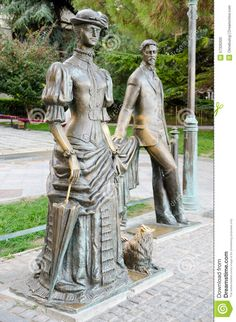 """Anton Chekhov and Lady with a Dog"" in Yalta, Russia - photo from dreamstime;  Yalta is a resort city on the south coast of the Crimean Peninsula surrounded by the Black Sea.  It is the setting for Chekhov's short story, ""The Lady with the Dog"", and such prominent plays as ""The Three Sisters"" were written in Yalta."