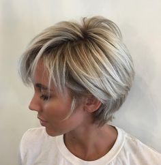 Long Blonde Balayage Pixie Short layered hair is good for work and even better for weekends! The short layers around the face gently caress the cheekbones and eyebrows keeping the style youthful… Cute Pixie Haircuts, Best Short Haircuts, Cute Hairstyles For Short Hair, Curly Hair Styles, Cut Hairstyles, Blonde Hairstyles, Simple Hairstyles, Latest Hairstyles, Hairstyle Ideas