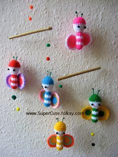 Crochet bees mobile