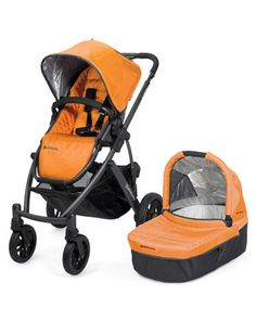 """UPPABaby Vista - an all-in-one stroller that can swap out bassinet for car seat, as well as a """"rumble seat"""" to make it a double stroller."""