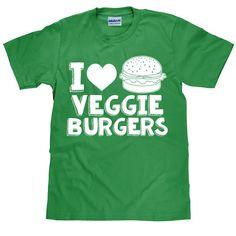 Vegetarian T Shirt  I Love Veggie Burgers  Unisex by HappyHeadTees