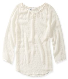 Kids' Sheer Long Sleeve Clip-Dot Top - PS From Aeropostale