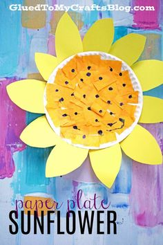 Paper Plate Sunflower {Kid Craft}, DIY and Crafts, Paper Plate Sunflower {Kid Craft} Spring Themed Toddler Art Project - 5 Minute DIY. Spring Art Projects, Toddler Art Projects, Spring Crafts For Kids, Paper Crafts For Kids, Fun Crafts, Craft Projects, Spring Flowers Art For Kids, Spring Crafts For Preschoolers, Craft Ideas