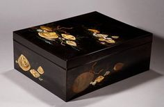 4332 Japanese Lacquer document box with shell raised design, c.1900.