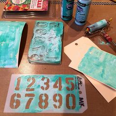 Packing up supplies for Art is You... I had to stop and have a quick play with my Gelli Plate and Tim Holtz stencil.