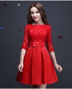 1ea1f2404 Vestidos rojos cortos con manga Vestidos Rojos Cortos