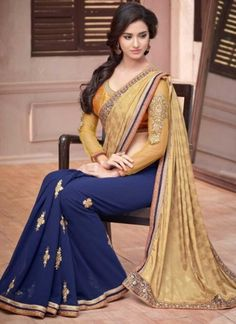 Voguish Blue And Cream Simmer Jacquard With Georgette Designer Saree http://www.angelnx.com/Sarees/Party-Wear-Sarees#/sort=p.date_added/order=DESC/limit=32/page=21