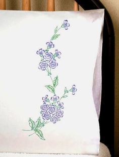 Tobin Stamped #embroidery  BLUE BELLS #pillowcases