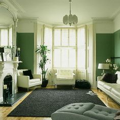 Green And White Rooms Living Room Monochrome Palette Accents Flickr