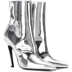 Balenciaga Slash Heel Leather Ankle Boots (6 340 SEK) ❤ liked on Polyvore featuring shoes, boots, ankle booties, balenciaga, booties, silver, ankle boots, leather ankle boots, balenciaga booties and leather booties