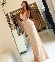 Spaghetti Straps Sequins Long Evening Dresses Open Back 2017 Prom Dress with Beading Belt by DestinyDress, $217.31 USD