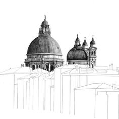 One of my favourite views in Venice which I drew back in summer 👉🏻Swipe across to see the full finished pencil drawing. Architecture Drawings, Architecture Details, Biro Art, Art Alevel, City Sketch, Travel Wall Art, Architectural Prints, Perspective Drawing, A Level Art