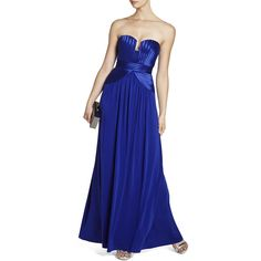 Bcbg Maxazria Tasha Royal Blue Strapless Dress ($220) ❤ liked on Polyvore featuring dresses, gowns, blue, royal blue dress, red carpet dresses, long blue dress, red carpet gowns and blue evening dress