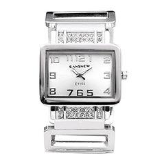 JSDDE Uhren,Fashion Quadrat Strass Damen Spangenuhr Edelstahl Armbanduhr Hollow Band Analog Quarzuhr(Silber-Weiss)