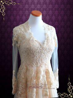 Blush Peach Lace Wedding Dress With Long Sleeves | Ronna | Ieie's Wedding Dress…