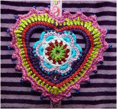 Colorful crocheted heart