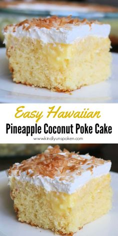 Cake Mix Desserts, Poke Cake Recipes, Easy Desserts, Delicious Desserts, Light Dessert Recipes, Hawaiian Desserts, Tropical Desserts, Pineapple Desserts, French Vanilla Cake