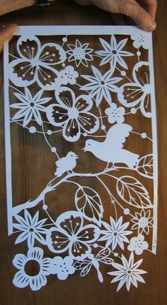 birds and flowers Papercut Art, Paper Pot, Cut Paper, Decoupage, Paper Cutting Patterns, Diy And Crafts, Paper Crafts, Origami And Kirigami, Scrapbook Embellishments