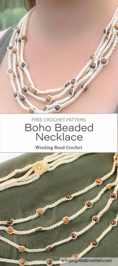 Quick and easy crochet beaded necklace. Perfect boho style jewelry for summer ou., Quick and easy crochet beaded necklace. Perfect boho style jewelry for summer outfits. Free crochet pattern by Winding Road Crochet. Crochet Necklace Pattern, Crochet Beaded Necklace, Crochet Jewelry Patterns, Beaded Necklace Patterns, Crochet Bracelet, Bead Crochet, Crochet Accessories, Free Crochet, Beaded Jewelry