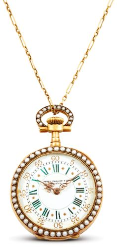 Patek Philippe A FINE AND RARE LADY'S YELLOW GOLD, PEARL AND EMERALD-SET OPEN-FACED POCKET WATCH MVT 122629 CASE 221035 MADE IN 1903 LOT SOLD. 16,119 USD. 23/11/16 ||| sotheby's hk0682lot97zpmen