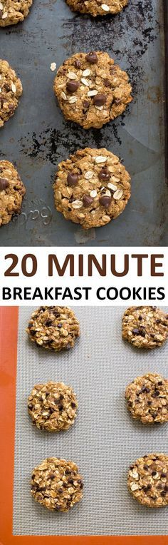 Healthy Tips Breakfast Cookies loaded with oats, peanut butter and chocolate chips. Wonderful… - Breakfast Cookies loaded with oats, peanut butter and chocolate chips. Wonderful for breakfast or as a healthy protein packed snack! Protein Packed Snacks, Healthy Protein, Healthy Cookies, Healthy Desserts, Paleo Dessert, Protein Desserts, Cookies Vegan, Protein Cookies, Almond Cookies