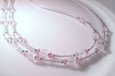 Eyeglass Chain  Vintage Rose Swarovski Crystals and Frosted