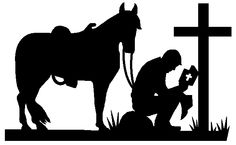 Religious Silhouette Clip Art | Cowboy and Horse 1