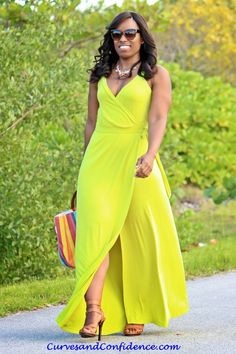 Curves and Confidence | @Donna Maywald Navy Wrap Maxi Dress