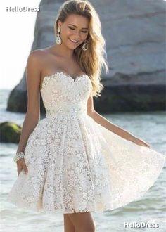 Short Knee Length Little White Dress Lace Mini Graduation Dress on Storenvy
