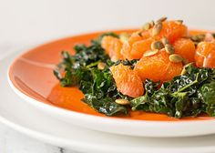 A quick and easy salad with massaged dino kale, Cara Cara orange, and pepitas (pumpkin seeds) with a light dressing. A salad you could eat every night. Massaged Kale Salad, Kitchen Notes, Orange Salad, Easy Salads, Seeds, Curry, Dressing, Friday
