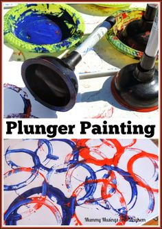 Plunger Painting - Fine motor and sensory fun for all ages! Visit Mummy musings and mayhem for more creative ideas!