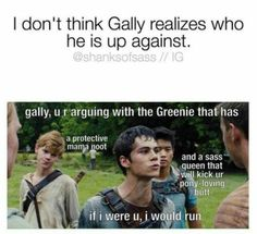 """The Maze Runner: Jokes and Memes"""" - Gally, you're crazy - Wattpad Maze Runner Thomas, Newt Maze Runner, Newt Thomas, Maze Runner Funny, Maze Runner Movie, Maze Runner Quotes, Maze Runner Trilogy, Maze Runner Series, Thomas Brodie Sangster"""
