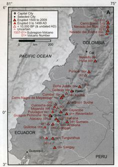 Volcanoes of Colombia and Ecuador Map - Quito is surrounded by volcanoes.  I believe 4 of them are active.