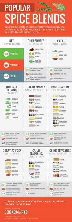 Popular Spice Blends Infographic by Cook Smarts via therealvisually Homemade Spices, Homemade Seasonings, Spice Blends, Spice Mixes, Spice Chart, Spice Combinations, Cooking Tips, Cooking Recipes, Cooking Steak