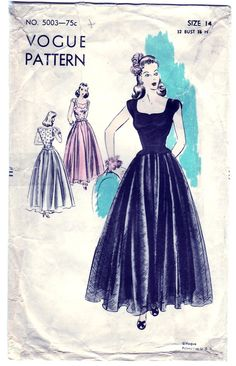Vintage 1943 Vogue 5003 Sewing Pattern by SewUniqueClassique, $45.00