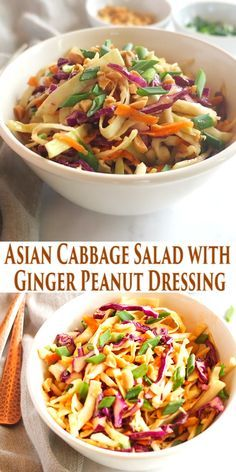 Lower Excess Fat Rooster Recipes That Basically Prime This Asian Cabbage Salad With Ginger Peanut Dressing Is A Healthy, Easy To Make Thai Inspired Side Dish Made From Simple, Wholesome Ingredients Recipe From Thebusybaker. Best Salad Recipes, Salad Dressing Recipes, Healthy Recipes, Asian Salad Dressings, Copycat Recipes, Asian Coleslaw Dressing, Thai Vegetarian Recipes, Simple Salad Recipes, Healthy Thai Recipes