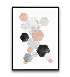 Abstract watercolor pink gray print marble print by Wallzilla