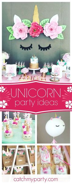 Swoon over this wonderful unicorn birthday party. The unicorn backdrop with the paper flowers is gorgeous! See more party ideas and share yours at Unicorn Birthday Parties, 10th Birthday, First Birthday Parties, Birthday Party Themes, First Birthdays, Birthday Ideas, Unicorn Birthday Decorations, Unicorn Party Decor, Unicorn Diys