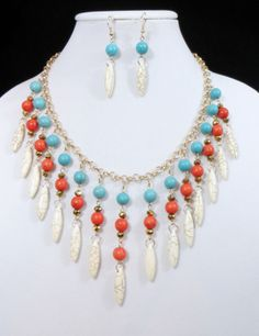 Cowgirl Bling Necklace set Gypsy Coral White Turquoise Native Western Statement our prices are WAY BELOW RETAIL! all JEWELRY SHIPS FREE! www.baharanchwesternwear.com baha ranch western wear ebay seller id soloedition