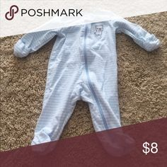 BABY BLUE SLEEPER Baby blue and white striped zip front sleeper with dog and fold over sleeves Carter's Pajamas