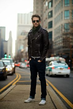 Boda Skins leather jacket | Indochino scarf | http://iamgalla.com/2013/12/chitown/