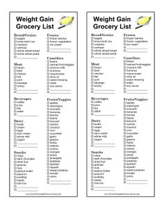 This printable shopping list highlights food with high amounts of protein, complex carbohydrates, and good fats for people who want a healthy way to gain weight. Free to download and print