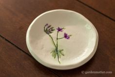 Geranium Dish~ Pressed Flower Jewelry Dish ~ gardenmatter.com