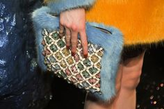 Furry Bedazzled Clutch   - ELLE.com