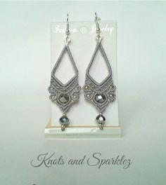 Macrame earrings chandelier earrings by KNOTSANDSPARKLEZ on Etsy