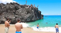 Waimea Bay Jump Rock: This one is Oahu's best-known jumping spot, with good reason. It's possible to leap from as high as 40 feet, but make sure it's not low tide if you're going for a record.